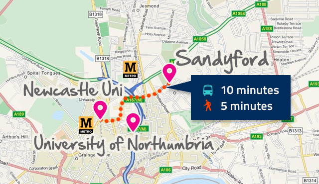 Map of Sandyford, Newcastle