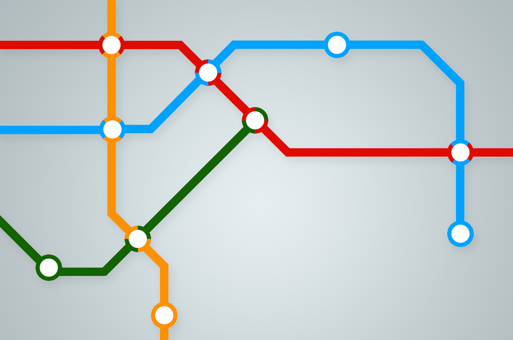 Abstract subway map with colorful lines and stations